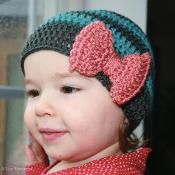 Easy baby kid adult striped hat with bow - via @Craftsy