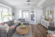 Metres trim elements in Laila and Dans new open concept living on Love It or List It Vancouver. Living Room Decor On A Budget, Living Room Remodel, Living Room Grey, Living Room Kitchen, Living Room Designs, Kitchen Remodel, Ideas Hogar, Family Room Design, Open Concept