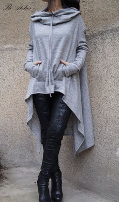 Gray Maxi Sweater/Extravagant Blouse/Loose Knitwear/ by FloAtelier