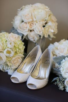 Shoes and flowers from wedding at Hollywood Roosevelt Hotel