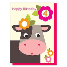 Collette The Cow Age Four Card