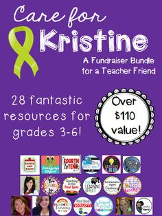 I can't wait to use these resources! This bundle is a super value! An amazing deal benefiting an amazing teacher! https://www.teacherspayteachers.com/Product/Care-for-Kristine-Bundle-Grades-3-to-6-3091297