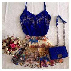 Lindo Vestido Feminino Curto Azul Paradyse Em Chiffom e Renda