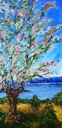 Fleur de Sakura::  Huile sur toile (spatule) _ Taille: 10 x 20 _ Novembre 2009