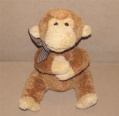 "Mine Alone Golden Brown Tan Monkey Plush Stuffed Animal 9"" Toy Gingham Bow #MineAlone"