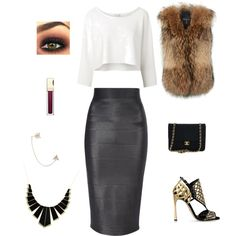 A fashion look from December 2014 featuring Witchery tops, Adrienne Landau vests and Jane Norman skirts. Browse and shop related looks.