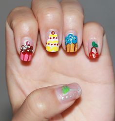 Cupcakes & cherries nail art with acrylic colors