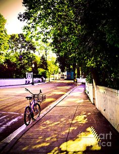 Bicycle at Rest by Desiree Paquette. Available online at Fine Art America. keywords: bike, neighborhood, nostalgia, picket, sidewalk