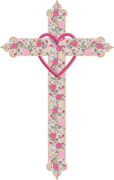 Pink rose cross graphic