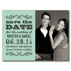 """Announce your wedding in style with these vintage chic photo save the date postcards!  Features mixed typography and elegant scroll design accents.  Personalize with your custom text (front and back) and favorite engagement photo.  Color scheme: charcoal gray / black and mint blue green <br> <br> *For an ivory (instead of white) background on the back side of the card, click """"Customize It"""", then edit > background to hex # """"FFFAEC"""". <br> *Additional colors are available at the Plush Paper…"""
