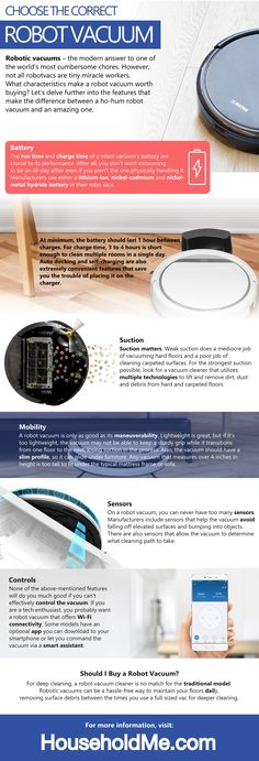 Choose the Correct Robot Vacuum Infographic: Check out our latest Ecovacs Deebot N79S review: http://www.householdme.com/ecovacs-deebot-n79s-robotic-vacuum-cleaner-review/  #ecovacs #n79S #deebotN79S #robotvacuum #vacuum