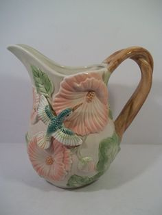 FITZ AND FLOYD HUMMINGBIRD and HIBISCUS PITCHER - Holds 2 Quarts - Dated 1987
