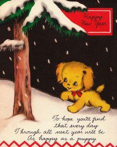 Vintage 1950s Happy New Year Greetings Card  via Etsy.