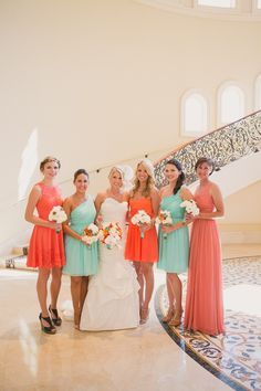 Emily + Brady - St. Regis Monarch Beach, CA Wedding www.closertolovep... Wedding Planner/Florals: Simplistic Elegance #aqua #coral #wedding