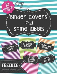 This FREEBIE includes 10 different binder covers and matching spines for each of the covers. There are 3 different size options for each of the spines (1 inch, 1.5 inches, 2 inches). ENJOY!Want an EDITABLE version of these binder covers with MORE color options??