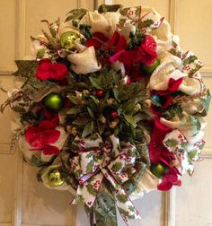 This is a gorgeous and large festive Christmas wreath! The base is a natural cream colored mesh with gold string woven through out. The center Christmas Mesh Wreaths, Deco Mesh Wreaths, Christmas Crafts, Topiary, Xmas Decorations, Garlands, Festive, Craft Ideas, Base