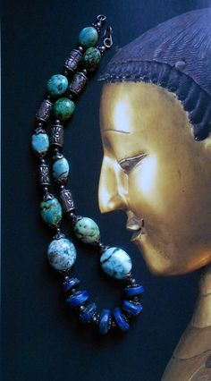 Antique Tibetan Lapis Turquoise Necklace. Semiprecious by SohoZulu, €124.90