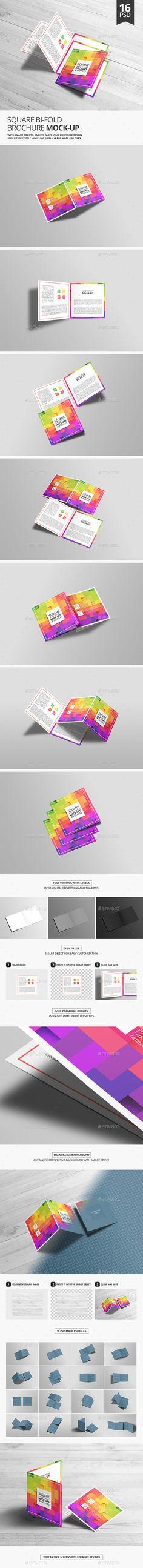 Square BiFold Brochure Mock-Up — Photoshop PSD #mockups #template • Download ➝ https://graphicriver.net/item/square-bifold-brochure-mockup/19179833?ref=pxcr
