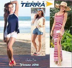 Catalogo de Moda Terra verano 2016, con ropa y zapatos de mujer. Vestidos asimetricos, blusas escotadas