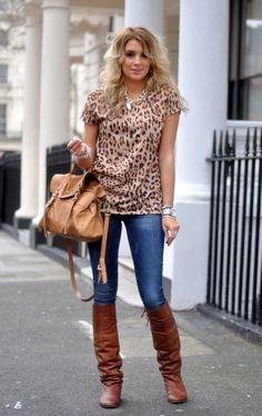 cheetah top, skinnies & tan leather boots.