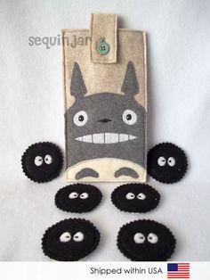 Cute handmade felt Totoro phone cozy/ sleeve/ bag and sootsprite/ soot gremlin magnets