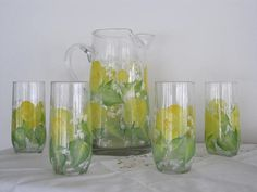 ON SALE Pitcher matching Glasses hand painted with yellow