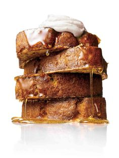 Just when we thought banana bread couldn't get better, along comes banana bread French toast, drizzled with vanilla-infused maple syrup and dollops of lemon sour cream. #frenchtoast #bananabread #bananafrenchtoast #breakfast
