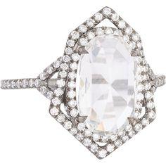 Monique Péan Minéraux Diamond & Oxidized Platinum Geometric Ring ($52,770) ❤ liked on Polyvore featuring jewelry, rings, accessories, platinum engagement rings, pave diamond engagement ring, platinum band ring, platinum diamond rings and oval diamond ring