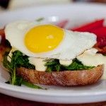 Mustard Greens and Hollandaise Stack with a Fried Egg - the meaning of pie