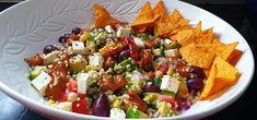 Rainbow Salad with Spicy Harissa Mayo (V) - Sparkle Ellie Bulgar Wheat, Nacho Chips, Rainbow Salad, Salad Ingredients, Lettuce Wraps, Vegan Friendly, Feta, Sparkles