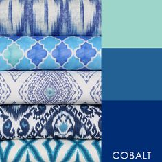 #6009 Cobalt Blue is definitely the go to color for these past several seasons. The Cobalt collection features a wide range of intense watery colors of cobalt, marine and turquoise featured on prints, textures, and embroideries, all in multipurpose constructions.