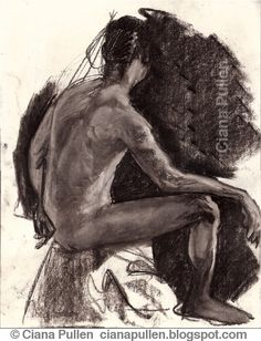 Sketch of a Seated Man, by Ciana Pullen. Charcoal, drawn from life. http://cianapullen.blogspot.de/2015/07/sketch-of-seated-man-by-ciana-pullen.html