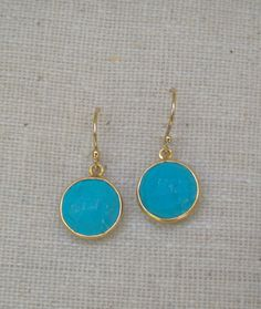 Mini Turquoise Round Lolli Earrings by trebelladallas on Etsy, $24.00