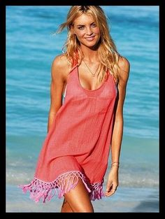 Coral Fringe Tunic Bikini Beach Cover-Up