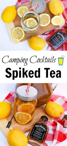 This Camping Cocktail recipe is a refreshing cold drink to mix while you camp! This Spiked Tea recipe idea uses fresh lemons which gives this alcoholic drink the perfect zing after a day hiking out in the sun. #recipe #drinkrecipe #camping #camper #party #partyidea