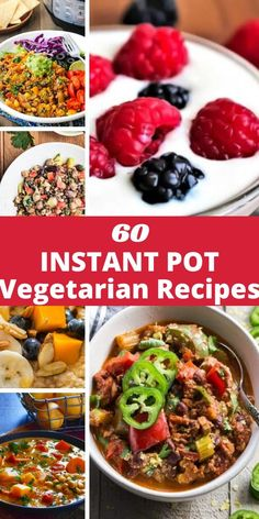 A collection of 60 Vegetarian Instant Pot Recipes from some of the best food bloggers out there! Everything from soup and curry to oats and salad can be found in this fun pressure cooker round-up. Many recipes are vegan and all are gluten-free to boot! #instantpotrecipes Gluten Free Vegetarian Recipes, Vegetarian Breakfast Recipes, Vegetarian Recipes Dinner, Beef Recipes, Vegan Meals, Vegetarian Food, Healthy Food, Cooking Recipes, Best Instant Pot Recipe