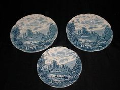 Johnson Bros Blue White Castle Story Stoke On Trent Bread Butter Plates & Saucer