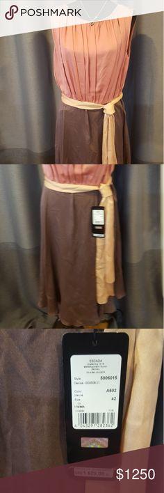 Escada Dress 100% silk dress. Two toned, color- Henna. Style 5006015. Escada Dresses Midi