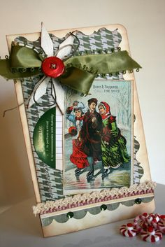 Green & Cream Nostalgic Christmas Card...with ribbons & trim.