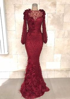 Fashion evening dresses long lace red prom dress with ärmel_brautkleider. African Lace Dresses, African Fashion Dresses, Beaded Evening Gowns, Evening Dresses, Dinner Gowns, Handmade Wedding Dresses, Prom Dresses With Sleeves, Occasion Dresses, Elegant Dresses
