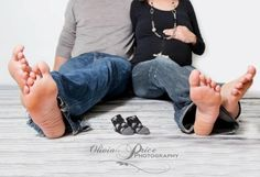maternity couples feet with booties, redo with babies feet