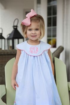 The South...big bows and monogram dresses. I now understand why my mom and grandmother insisted on these things when I was little. And yes, I'll do the same to my little Southern belle one day, too.