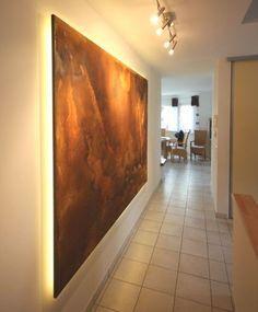 Ein Wandpaneel in Rostdesign (Wandgestaltung, Rostgestaltung) mit indirekter LED-Beleuchtung. Keine Rostoptik, sondern echter Rost! Kunden sind sehr HAPPY! http://www.malerische-wohnideen.de/de/blog/der-kundenwunsch-ein-wandpaneel-in-rostdesign-mit-indirekter-led-beleuchtung-.html