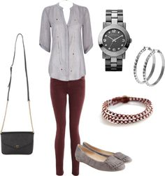 """Maroon and Grey Fall"" by emilyk131 on Polyvore"