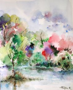 Watercolor Summer Landscape, Art Print of Original Watercolor Painting 8x10'' Green Pink Nature
