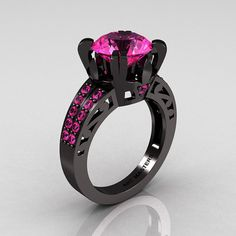 Modern Vintage 14K Black Gold 3.0 CT Pink Sapphire Wedding Ring, Engagement Ring Etsy...sooo unique!
