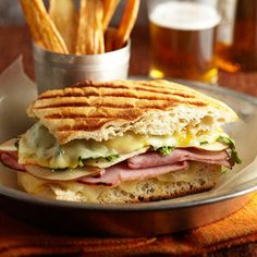 @Midwest Living 25 Favorite Fall Recipes - Ultimate Grilled Cheese and Ham Panini with Parsnip Fries