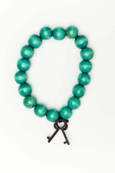 13 MM Bracelet with Black Keys Teal