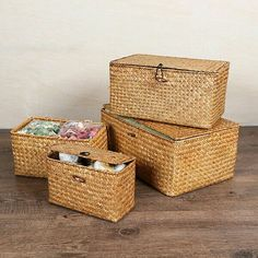 Seagrass Storage Basket with Lid