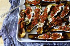 eggplant with yogurt and tomato relish- tried with 1/2 slices of globe eggplant. very good but tomatoes got very watery in processor, may chop by hand next time.
